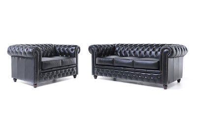 Chesterfield Sofa Original Leather | 2 + 3 seater  | Black | 12 years guarantee