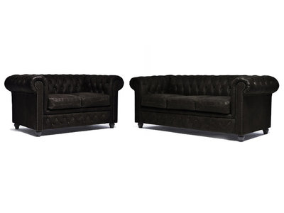 Chesterfield Sofa Vintage Leather | 2 + 3 seater  | C0936 | 12 years guarantee