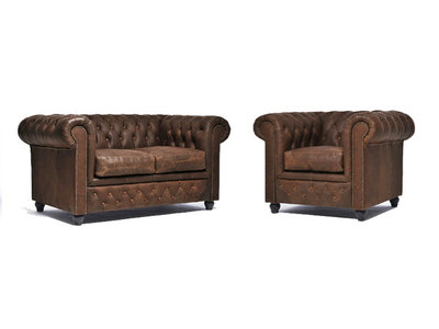 Chesterfield Sofa Vintage Leather | 1 + 2 seater  | C0869 | 12 years guarantee