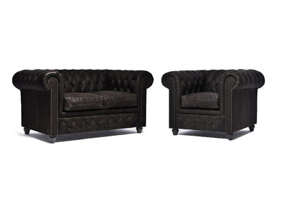 Chesterfield Sofa Vintage Leather | 1 + 2 seater  | C0871 | 12 years guarantee