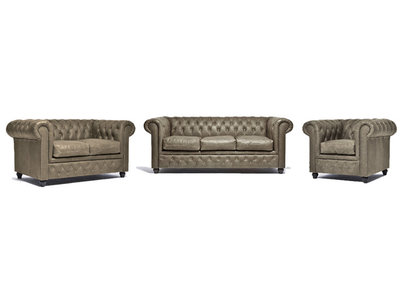 Chesterfield Sofa Vintage Leather | 1 + 2 + 3 seater  | Alabama C1057 | 12 years guarantee