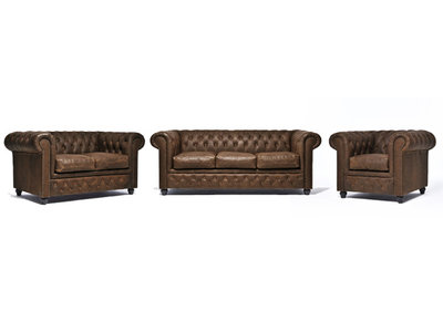 Chesterfield Sofa Vintage Leather | 1 + 2 + 3 seater  | C0869 | 12 years guarantee