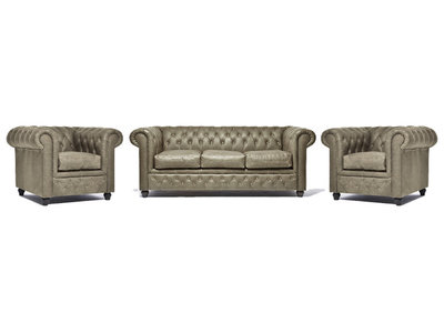 Chesterfield Sofa Vintage Leather | 1 + 1 + 3 seater  | Alabama C1057 | 12 years guarantee