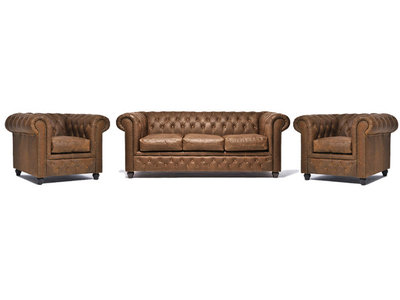 Chesterfield Sofa Vintage Leather   1 + 1 + 3 seater    Alabama C1059   12 years guarantee