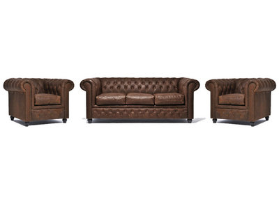 Chesterfield Sofa Vintage Leather | 1 + 1 + 3 seater  | C0869 | 12 years guarantee