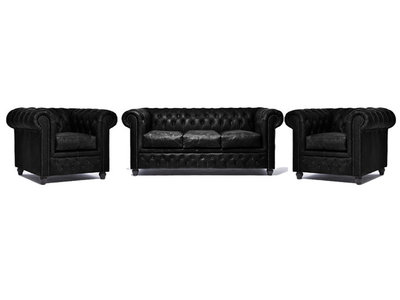 Chesterfield Sofa Vintage Leather | 1 + 1 + 3 seater  | C0871 | 12 years guarantee
