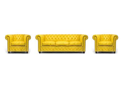Chesterfield Sofa Original Leather   1 + 1 + 3 seater    Yellow   12 years guarantee