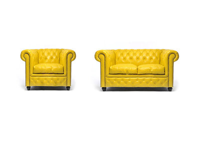 Chesterfield Sofa Original Leather | 1 + 2 seater  | Yellow | 12 years guarantee