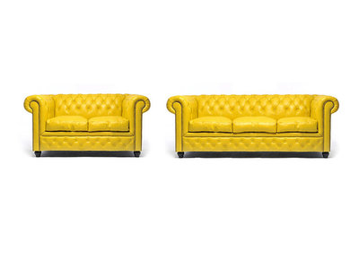 Chesterfield Sofa Original Leather | 2 + 3 seater  | Yellow | 12 years guarantee