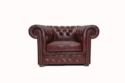 Chesterfield Armchair First Class Leather | Cloudy Red | 12 years guarantee