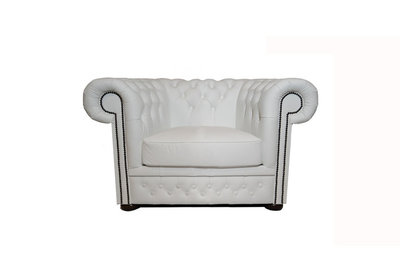 Chesterfield Armchair First Class Leather | White | 12 years guarantee