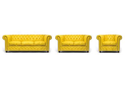Chesterfield Sofa Original Leather | 1 + 2 + 3 seater  | Yellow | 12 years guarantee
