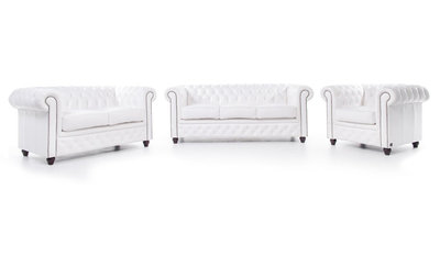 Chesterfield Sofa Original Leather | 1 + 2 + 3 seater  | White | 12 years guarantee