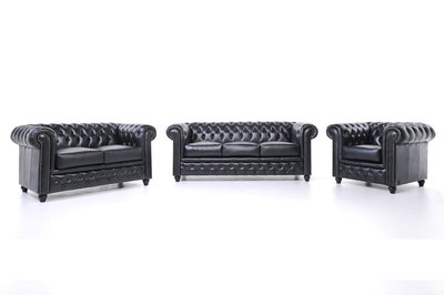 Chesterfield Sofa Original Leather | 1 + 2 + 3 seater  | Black | 12 years guarantee