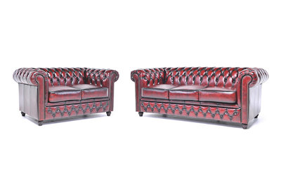Chesterfield Sofa Original Leather | 2 + 3 seater  | Wash Off Red | 12 years guarantee